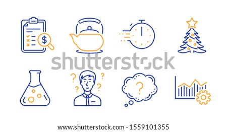 Cooking timer, Christmas tree and Question mark line icons set. Teapot, Accounting report and Support consultant signs. Chemistry lab, Operational excellence symbols. Stopwatch, Spruce. Vector