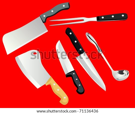 cooking utensils on a red background - stock vector