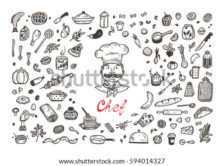 Cooking. Vector Set for menu decoration. Hand drawn doodle Chef, Food and Kitchen utensils.