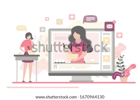 Cooking video blog on monitor display. Food blogger tells how to cook a dish. Woman chef teaches cooking new recipe. Female follower study prepare food. Video tutorial. Flat Vector illustration
