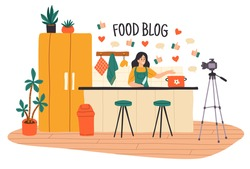 Cooking video blog. Women vlog or show channel with culinary tutorial, food blogger video recording in kitchen interior, camera working online broadcast, recipe web check vector cartoon concept