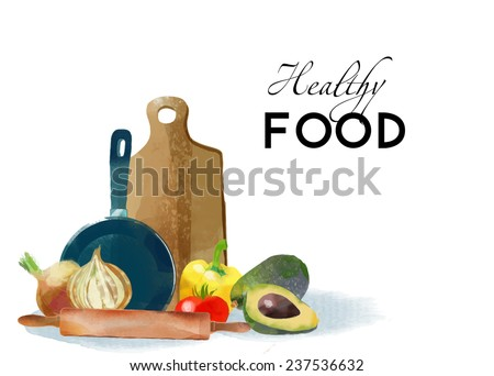 Cooking. Watercolor vector kitchen background