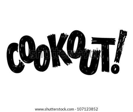 Cookout Banner - Retro Clipart Illustration