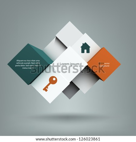 Cool abstract background with a composition of cubes with copyspace on them. EPS10 vector.