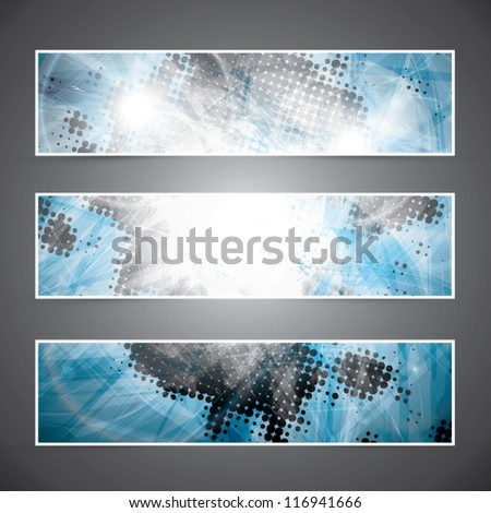 Cool abstract blue texture banners vector eps10