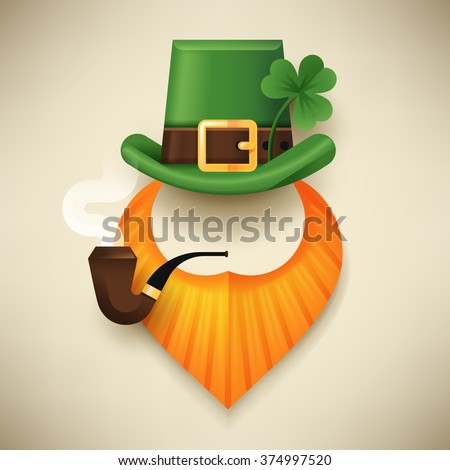Cool abstract symbol of Saint Patrick's Day character leprechaun with green hat, red beard, smoking pipe and no face. Ideal for posters, party invitations, web banners and greeting cards