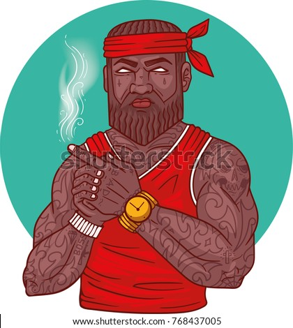 Cool Afro American Guy shows arm gun. Print for T-shirts. Gangster in tattoos. Rapper with brown beard lets out the smoke from his fingers. Cover for rap album. Vector illustration on white background