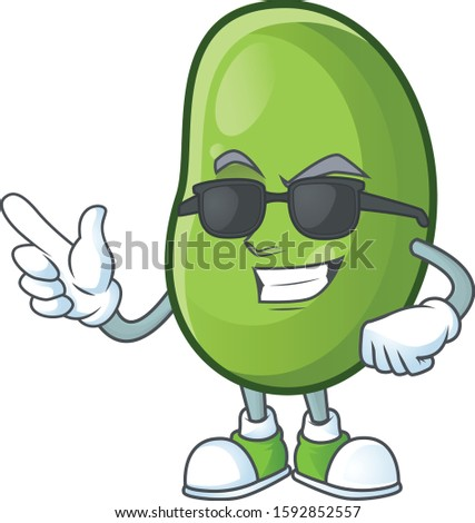 Cool and cool green beans character wearing black glasses
