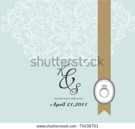 cool and simple wedding card in light blue