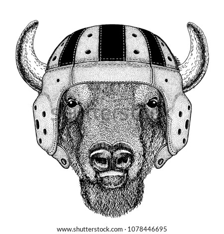 Cool animal wearing rugby helmet Extreme sport Buffalo, bison,ox, bull Hand drawn image for tattoo, emblem, badge, logo, patch