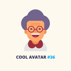 Cool avatar #36. Pretty grandmother in glasses smiling. Modern simple and clear design. Vector icon in flat style.