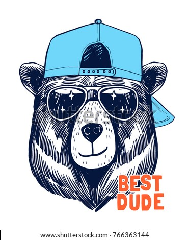 cool bear illustration for t