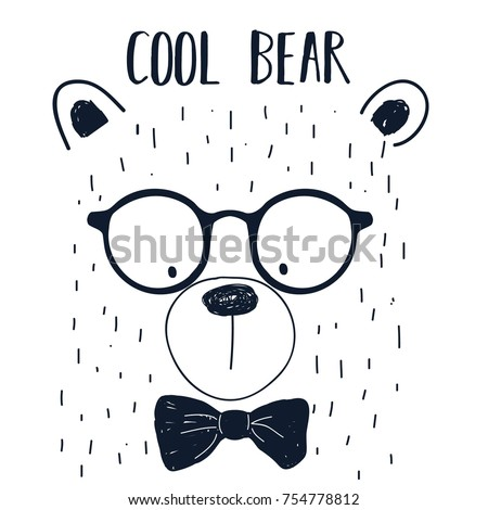 cool bear slogan and bear face hand drawing illustration vector.