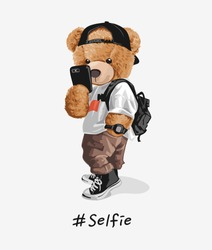 cool bear toy taking selfie illustration