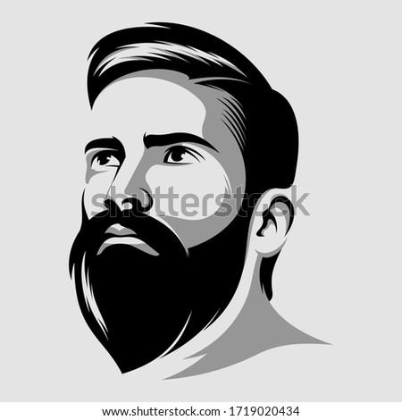 cool beard man vector logo