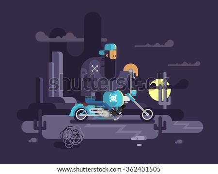 cool biker on a motorcycle