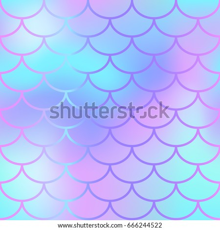 Cool blue fish scale pattern vector texture. Mermaid seamless pattern tile. Fish skin background. Marine animal skin seamless pattern. Colorful mermaid tail. Fishscale with blue pink gradient mesh
