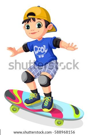 Cool boy on skateboard