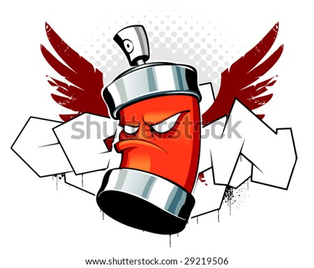 Cool can with wings on graffiti background