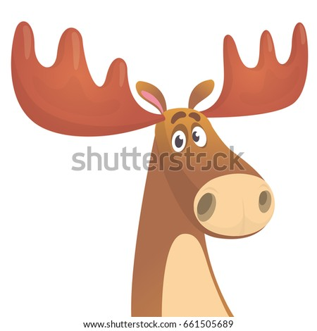 Cool carton moose. Vector illustration isolated. Design for poster, emblem, logo, print, sticker or icon