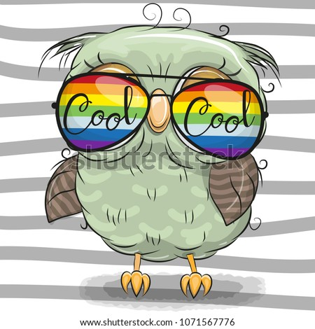 cool cartoon cute owl with sun