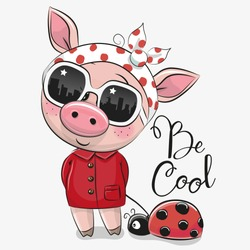 Cool Cartoon Cute Pig with sun glasses