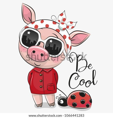 Cool Cartoon Cute Pig with sun glasses Stock photo ©