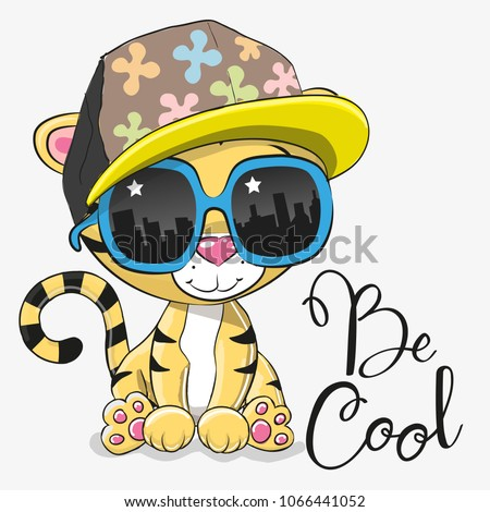 Cool Cartoon Cute Tiger with sun glasses