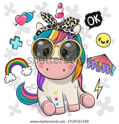Cool Cartoon Cute Unicorn with sun glasses