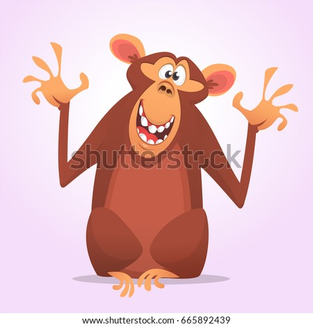 Cool cartoon monkey character icon. Wild animal collection. Chimpanzee mascot waving hand and presenting. Isolated on white background. Flat design. Vector illustration. Design for print, sticker