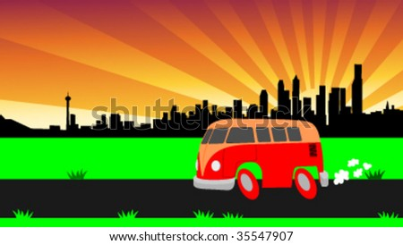 cool cartoon van and chicago skyline - vector