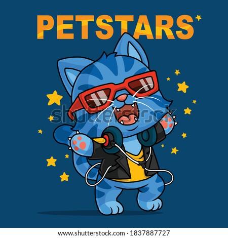 Cool cat cartoon. shirt design. Сток-фото ©
