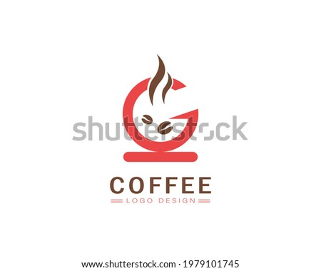 Cool coffee cup vector logo design  with G letter Photo stock ©