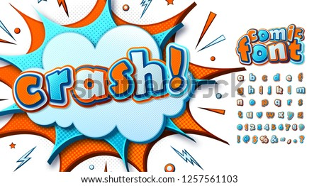 Cool comic font, kid's alphabet in style of comics, pop art. Multilayer funny blue-orange letters on comic book page, speech bubble, burst for decoration of children's illustrations, posters, banners