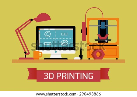 Cool concept illustration on 3D printing, trendy flat design   Innovative fabrication process background with modeling desktop equipment computer, 3D printer and sample object