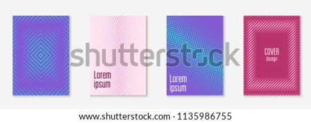 Cool cover template set. Minimal trendy vector with halftone gradients. Geometric cool cover template for flyer, poster, brochure and invitation. Minimalistic colorful shapes. Abstract illustration. #1135986755