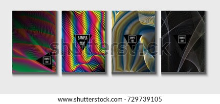 Cool Covers Set. Fluid Vector Iridescent Gradient Glam Background. Rainbow Colored Holographic A4 Minimal Covers Set. Neon Colored Futuristic Grid Music Poster. Funky New Year, Celebration Backgrounds - Shutterstock ID 729739105