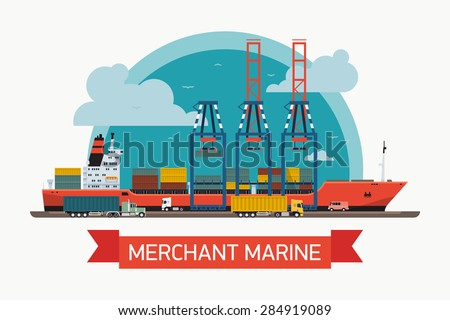 Cool creative vector detailed container ship at freight port terminal unloading | Merchant marine background, boat, cranes, trucks. Ideal for web site or social media network cover profile image