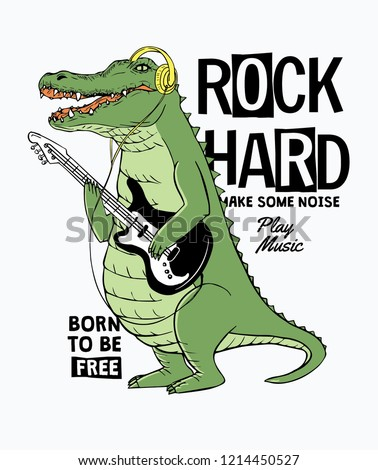 Cool crocodile playing guitar. Rock star vector illustration, for t-shirt and other uses.