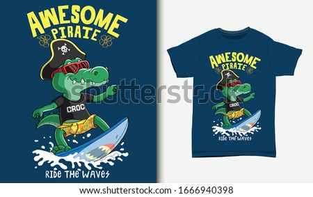 Cool crocodile surfing illustration with t-shirt design, Hand drawn Сток-фото ©
