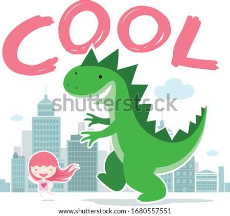 cool cute girl and dinosaur
