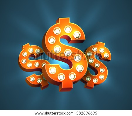 Cool 3d red dollar signs with light bulbs. Vector bright and eye-catching USD symbol for slot machines or casino web-site decoration.