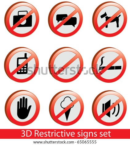 Cool 3D restrictive signs collection. Including empty sign.