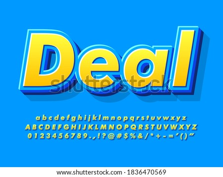 Cool 3d yellow and blue cartoon font. Strong and Bold effect with modern 3d extrude and shadow. Typeface sale for advertising and commercial design. Friendly 3d bold blue font