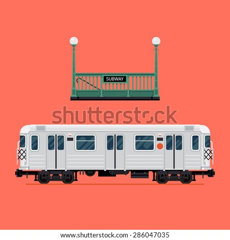 Cool detailed vector design elements on rapid transit items subway train car and underground tube entrance. Ideal for city transport infographics and graphic design