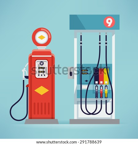 Cool detailed vector flat design modern and retro gas pumps isolated