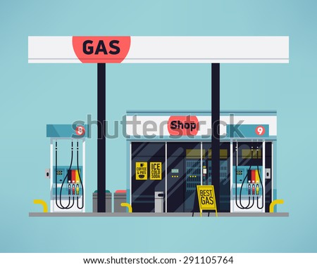 Cool detailed vector modern flat design gas filling station. Transport related service building  Gasoline and oil station with shop