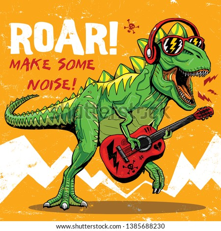cool dinosaur playing guitar drawing illustration t shirt print graphic design