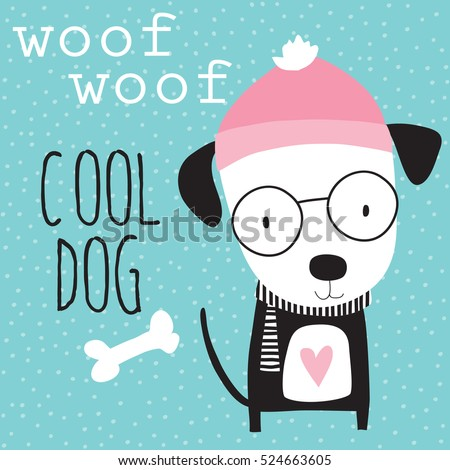 cool dog in winter vector