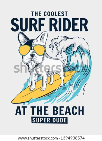 Cool Dog surfing illustration with text. Vector illustrations for t-shirt prints and other uses.